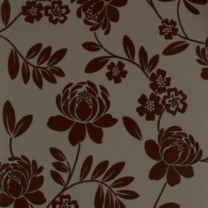 View Kristen Floral Brown Flock Wallpaper details