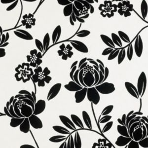 View Kristen Floral Black & Cream Flock Wallpaper details