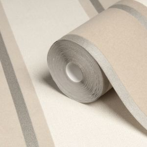 View Laquita Beige & Brown Metallic Striped Wallpaper details
