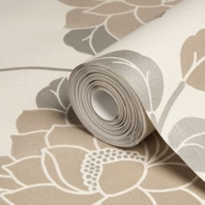 View Lola Floral Beige & Brown Flock Wallpaper details