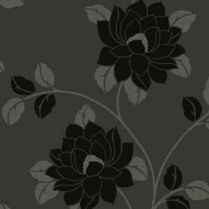 View Lola Floral Black Flock Wallpaper details