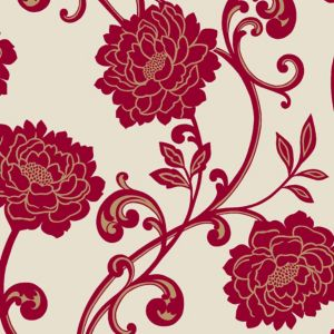 View Alanis Floral Cream & Red Flock Wallpaper details