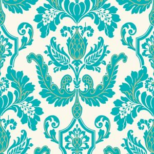 View Cicely Teal Flock Wallpaper details