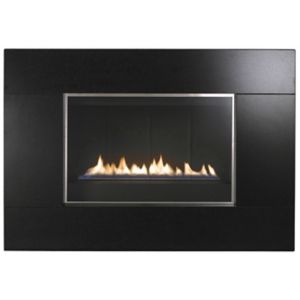 View Focal Point Serif Black Wall Hung Gas Fire Glass Front details
