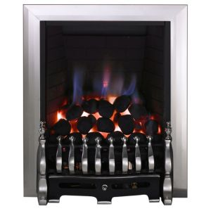 View Focal Point Blenheim Black Inset Gas Fire Black & Chrome Fret details
