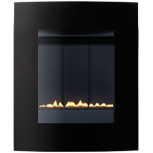 View Focal Point Ebony Black Wall Hung Gas Fire Glass Front details
