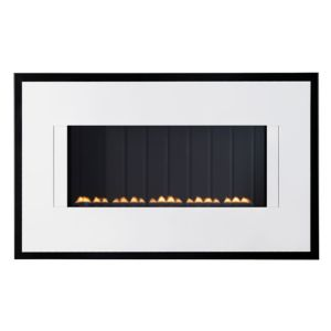 View Focal Point Valeria Black & White Wall Hung Gas Fire Brushed Stainless Steel details