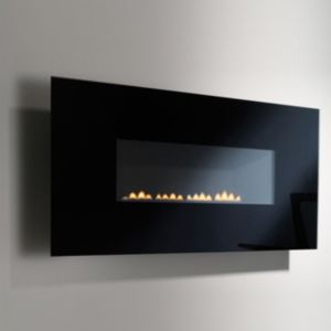 View Focal Point Midnight Black Wall Hung Gas Fire Glass Front details