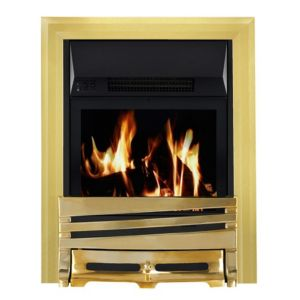 View Focal Point Horizon Brass Effect LCD Display Remote Control Inset Electric Fire details