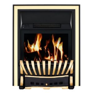 Image of Elegance Brass & Black LCD Remote Control Inset Electric Fire