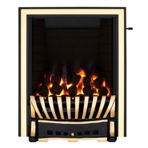Image of Elegance Black & Brass Effect Slide Control Inset Gas Fire