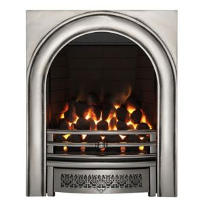 View Focal Point Arch Inset Gas Fire Chrome Effect Front details