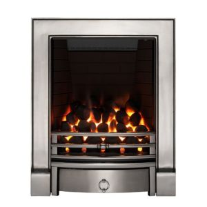 View Focal Point Soho Inset Gas Fire Chrome Effect Front with Black Detail details