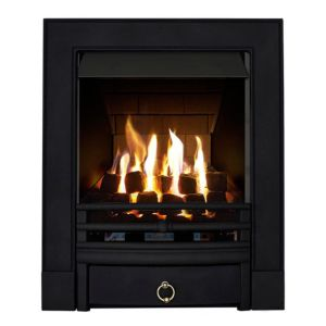 View Focal Point Soho Black Inset Gas Fire Brass Finish Front details