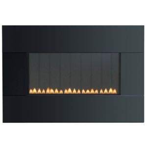 View Focal Point Piano Black Wall Hung Gas Fire Glass Front details