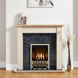 Image of Elegance Antique Brass Inset Gas Fire Suite