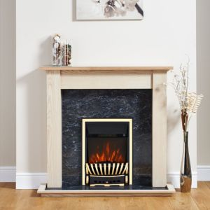 Image of Elegance Antique Brass Inset Electric Fire Suite