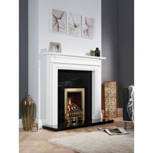 View Focal Point Blenheim Inset Gas Fire Solid Brass Front details