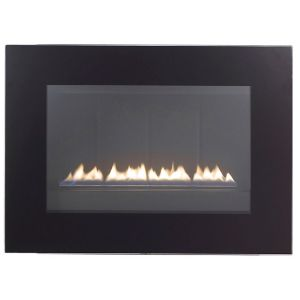 View Focal Point Cheshire Black Wall Hung Gas Fire Black Glass Front details