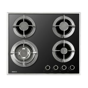 Beko QHGW6422B 4 Burner Black Cast Iron Gas On Glass Hob