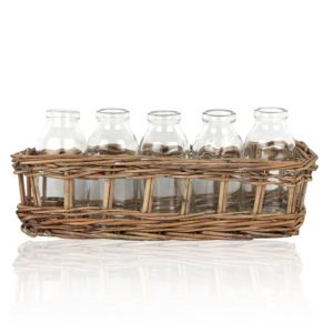 Image of Sil Cream Glass & wicker Bottles in wicker basket