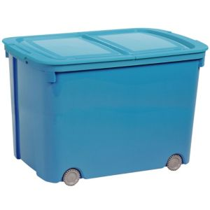 View Curver Blue 70 L Plastic Storage Box On Wheels details