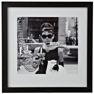 View Audrey Hepburn Black & White Wall Art (W)34cm (H)34cm details