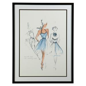 View Haute Couture Black, Blue & White Framed Print (W)631mm x (H)832mm details