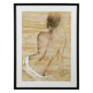 View Life Drawing Woman Black, Brown & White Framed Print details