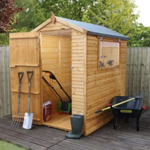 6x4 apex shiplap wooden shed with base