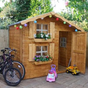 View 7X5 Wooden Playhouse with Base details