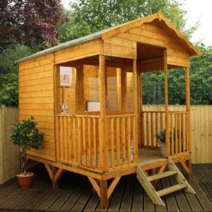 Image of 11X8 Beach Hut Shiplap Wooden Summerhouse with Assembly Service