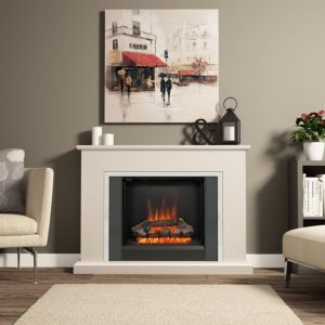 Image of Be Modern Ashburnham Black & Chrome effect LED Electric fire suite