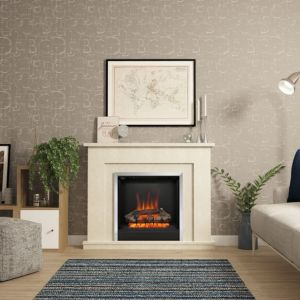 Image of Be Modern Evelina Manila Micro Marble Chrome effect Electric Fire Suite