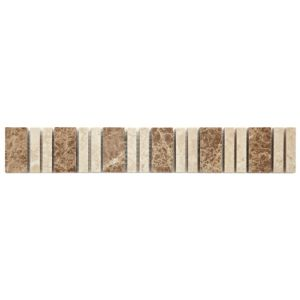 View Almond Beige Mosaic Ceramic Border Tile, (L)305mm (W)48mm details