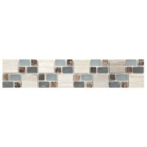 View Multi Square Blue Mix Mosaic Ceramic Border Tile, (L)333mm (W)66mm details