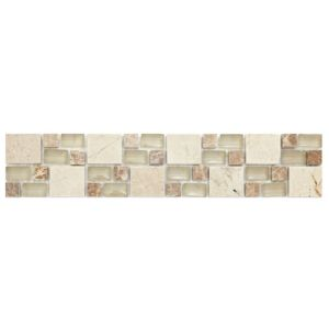 View Multi Square Neutral Mosaic Ceramic Border Tile, (L)333mm (W)66mm details