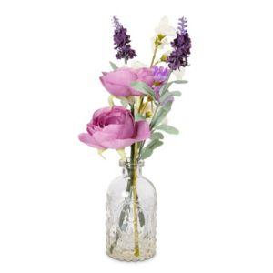 Photo of Pink ranunculus sweet pea & lavender artificial floral arrangement