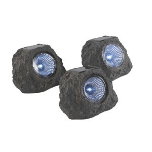 View Homelite Hera Blue LED Solar Rock Ground Light, Pack of 3 details