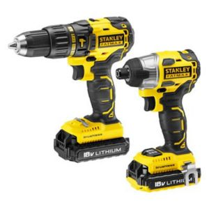 Image of Stanley FatMax 2A Li-ion Hammer Drill & Impact driver 2 batteries FMC628