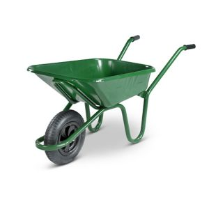 Image of Walsall Contractor builders Green Steel Wheelbarrow 90L