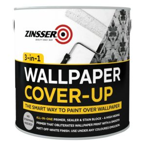 Image of Zinsser 3-in-1 Off white Matt Wallpaper cover up paint