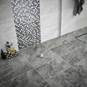 Image of Haver travertine Mist Stone effect Ceramic Wall & floor tile Sample (L)298mm (W)498mm