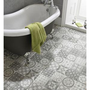 Image of Lofthouse Grey Matt Patchwork Ceramic Wall & floor tile Sample (L)331mm (W)331mm