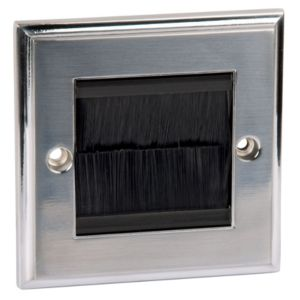 View Philex 1-Gang Silver Brushed Chrome Aluminium Face Plate details