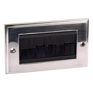 View Philex 2-Gang Silver Brushed Chrome Aluminium Face Plate details
