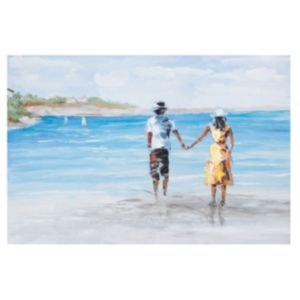 View Couple On Beach Multicolour Canvas (W)600mm x (H)400mm details