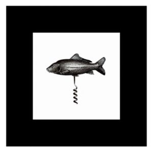 View Fish Corkscrew Black & White Framed Print (W)300mm x (H)300mm details