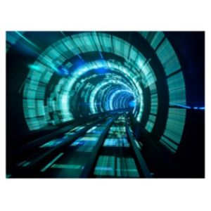 View Tron Tunnel Black, Blue & Green Canvas (W)770mm x (H)570mm details