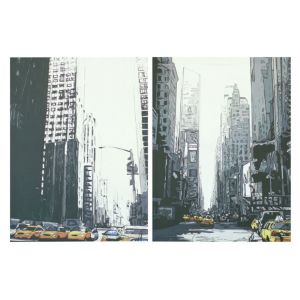 View New York Taxis City Scape Mono Wall Art (W)48cm (H)65cm details
